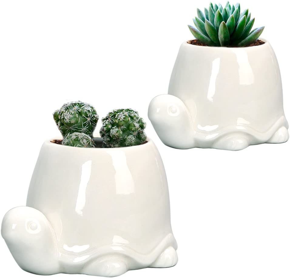 GeLive White Turtle Ceramic Succulent Planter, Animal Plant Pot, Windowsill Box, Flower Container, Tabletop Decor with Drainage Hole (Set of 2 Tortoise)