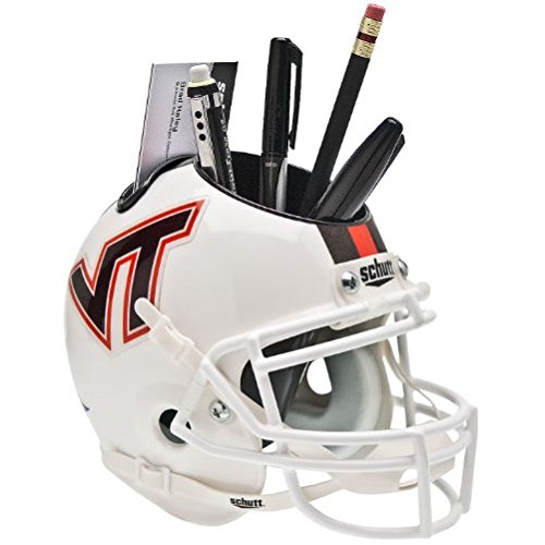 VIRGINIA TECH HOKIES NCAA Schutt MINI Football Helmet OFFICE PEN/PENCIL/BUSINESS CARD HOLDER (WHITE/STRIPE) - Cost Ship International Usps To
