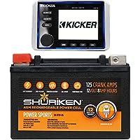 KICKER KMC10 Marine Digital Media Bluetooth Gauge Radio 4 Boat/ATV/UTV+Battery