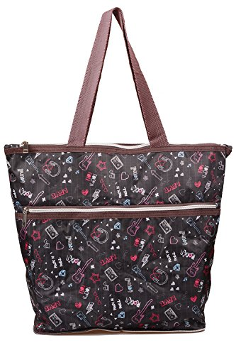 Tandi Fashionable & Foldable Sturdy Zippered Shoulder Tote Bag with Assorted Colors Melody Zone