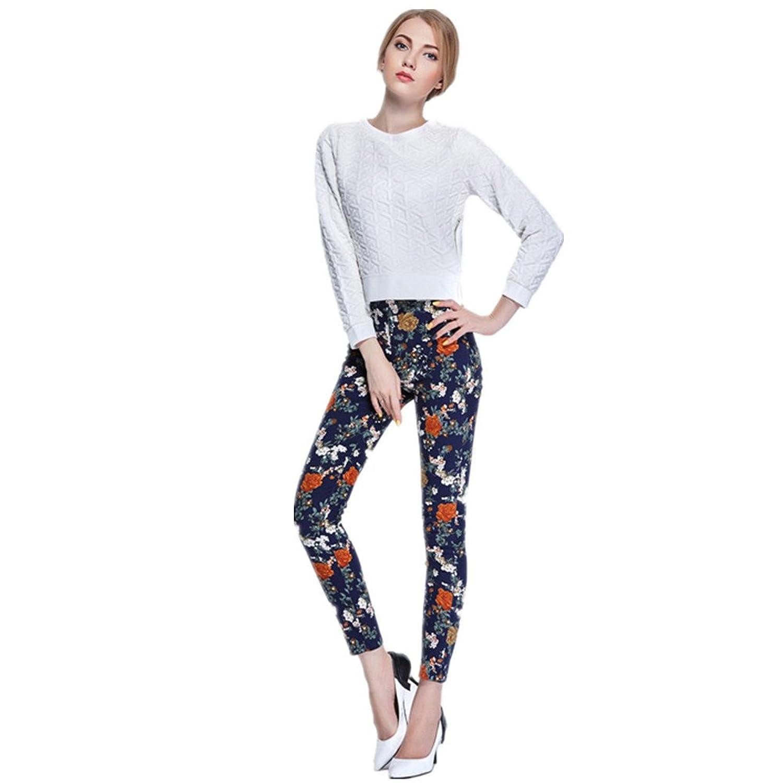 VANGULL Women Ladies Printed Floral Slim Button Zipper Legging Pants Trousers