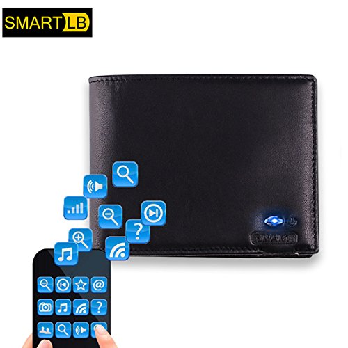Wallet Black Connected Leather Lost Theft APP Selfie Anti Wallet Genuine Anti Bluetooth Tuopuke with I5OnHxwECq