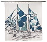 THOMAS PAUL SC946 Peacock Dazzle Ship Shower Curtain
