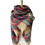 Large Blanket Scarf Winter Warm Tartan Wrap Shawl Best Gift Scarf for Women Ladies & Girl (Brwon)