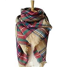 Large Blanket Scarf Winter Warm Tartan Wrap Shawl Best Gift Scarf for Women Ladies & Girl (Brwon)