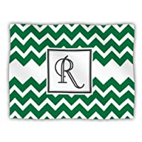 "Kess InHouse KESS Original ""Monogram Chevron Green Letter R"" Pet Dog Blanket, 60 by 50-Inch"