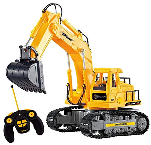 Top Race 7 Channel Full Functional RC Excavator, Battery Powered Electric RC Remote Control Construction Tractor With Lights & Sound (TR-111)