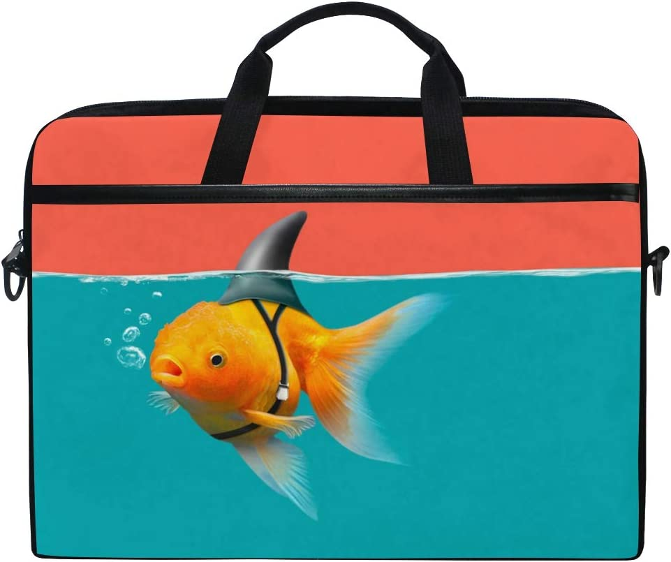 AGONA Funny Goldfish with Shark Fin Laptop Shoulder Messenger Bag 15 inch Case Sleeve for 14 Inch Laptop Case Laptop Briefcase Compatible Notebook Ultrabook Chromebook