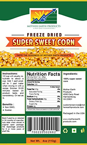 Mother Earth Products Freeze Dried Super Sweet Corn (2 Cup (Freeze Dried Sweet Corn)