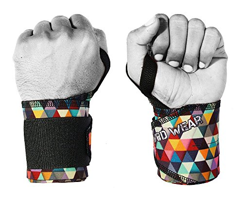 WOD Wear Wrist Wraps with Thumb Loop (Thick) by Great Wrist Supports for Cross Training, Weightlifing, Powerlifting, Bodybuilding, Olympic Weightlifting - One Size Fits All