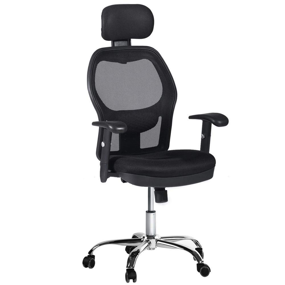 Winmi High Back Mesh Ergonomic Office Chair with Headrest and Armrest, 360 Degree Swivel Executive Computer Desk Task Chair,Back Lumbar Support, Black by Winmi (Image #1)