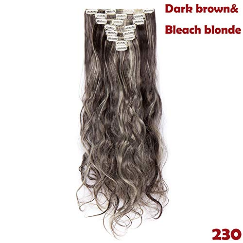 24inch 8pcs/set Wavy 18 Clips in False Hair Styling Synthetic Hair Extensions Hairpiece Extension hair for Human,230,24inches,C ()