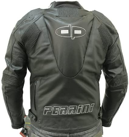 42 Perrini Tornado Motorcycle Racing Riding Leather Jacket with GP Armour Black New