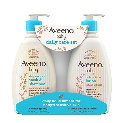 Aveeno Baby Daily Care Gift Set with Natural Oat Extract & Oatmeal, Contains Daily Moisturizing Body Lotion & Gentle 2…