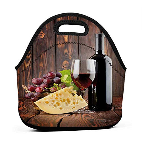 Removable Shoulder Strap Wine,Red Wine Cabernet Bottle and Glass Cheese and Grapes on Wood Planks Print,Brown Burgundy Cream,daycare lunch bag for toddler
