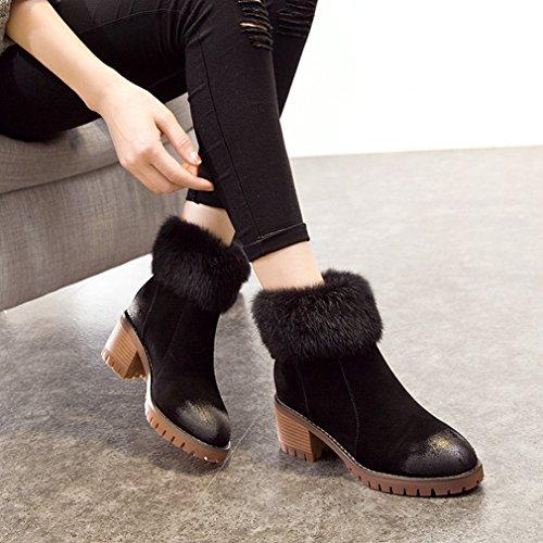 Femmes Suède Rond Fermeture Chaud Bloc Neige Bottes Inconnu Éclair Talon Bottines Artificielle Chaleureux Bout Chaussures Laine Mode Hiver UnR5n4Bq
