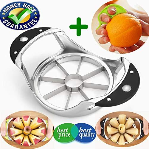Apple Slicer Apple Corer Slicer Blooming Onion Cutter Pear Divider wedger stainless steel metal core remover for larger apples decorer tool kitchen gadgets (Black)