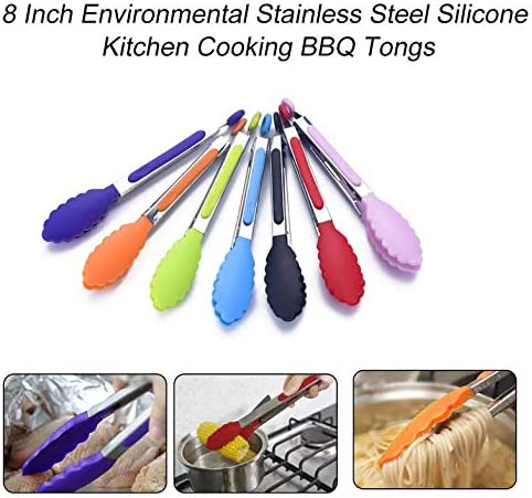 CamKpell 8 Pouces Environnemental en Acier Inoxydable Silicone Cuisine Cuisine Cuisson Barbecue Pinces Poignée Antidérapante Barbecue Cuisine Pince Clip - Multicolore Mixte