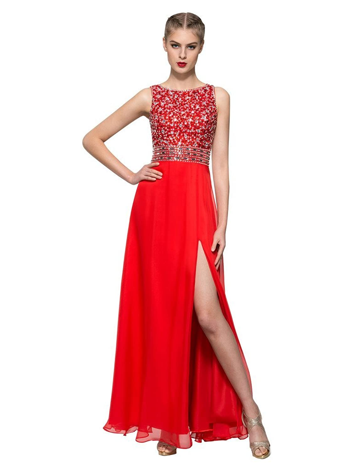CLOCOLOR Women's Long Beaded Rhinestons Backless Prom Dresses with High Splits Evening Gowns for Ladies