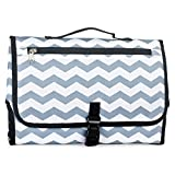 Portable Baby Nappy Diaper Changing Mat with Storage Pockets and Carry Handle for Toddlers (Grey Stripe)