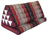Thai triangle cushion XXL, with 1 folding seat, burgundy/red, sofa, relaxation, beach, pool, meditation, yoga, made in Thailand. (82316)