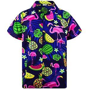 King Kameha Funky Chemise Hawaïenne | Hommes | XS – 6XL | Manche-Courte | Poche-Avant | Hawaiian-Imprimer | Flamingo…