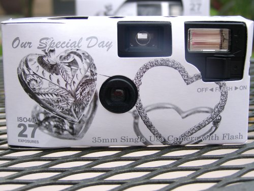 10 Pack Antique Silver Hearts Wedding Disposable 35mm Cameras in Gift Boxes with Matching Tents 27 Exp. by The Camera Depot