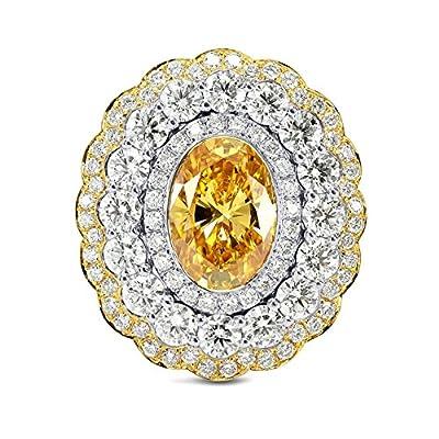 3.31Cts Orange Diamond Engagement Ring Set in 18K Size 6
