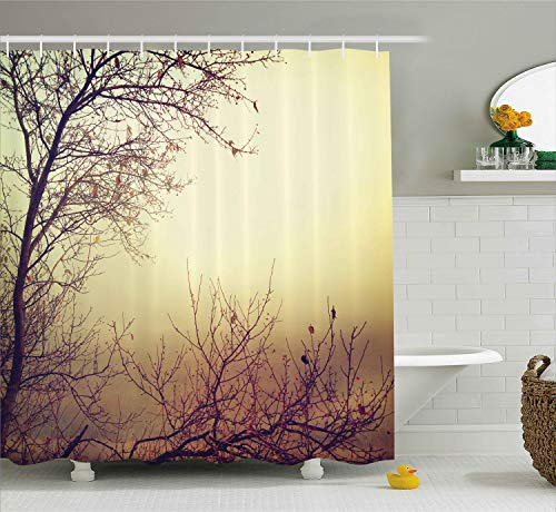 Ambesonne Nature Shower Curtain, Vintage Leafless Autumn Tree Branches Background in Saturated Tones Ecology Art Picture, Cloth Fabric Bathroom Decor Set with Hooks, 70