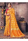 Indian Sarees For Women Designer Wedding Partywear Orange Color In Yellow Cotton Silk