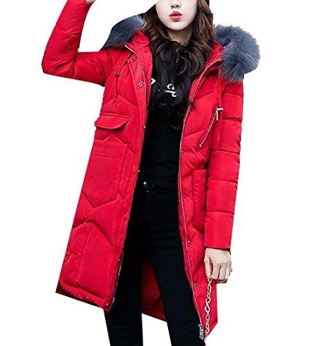 Basic Long Hood Red Pockets Black Big Cotton Womens Down Solid Winter AGAING wCgTAq4