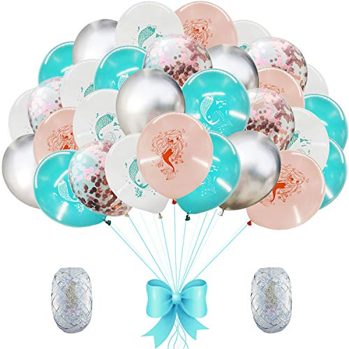 AMAWILL 37pcs Mermaid Latex Confetti Balloons Metal Balloon for Wedding Birthday Party Decorations Baby Shower Supplies -