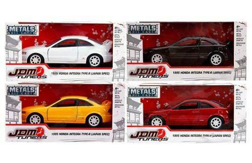 New DIECAST Toys CAR JADA 1:32 W/B - Metals - JDM Tuners - 1995 Honda Integra Type-R (Japan SPEC) (RED, Yellow, Black, White) Set of 4 30451-WA1 - Honda Integra Type