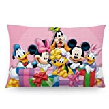 Custom Disney Mickey Mouse Pillowcase Standard Size 20x30 (Two Sides) Cute Design Zippered Pillow Cases Home Decorative