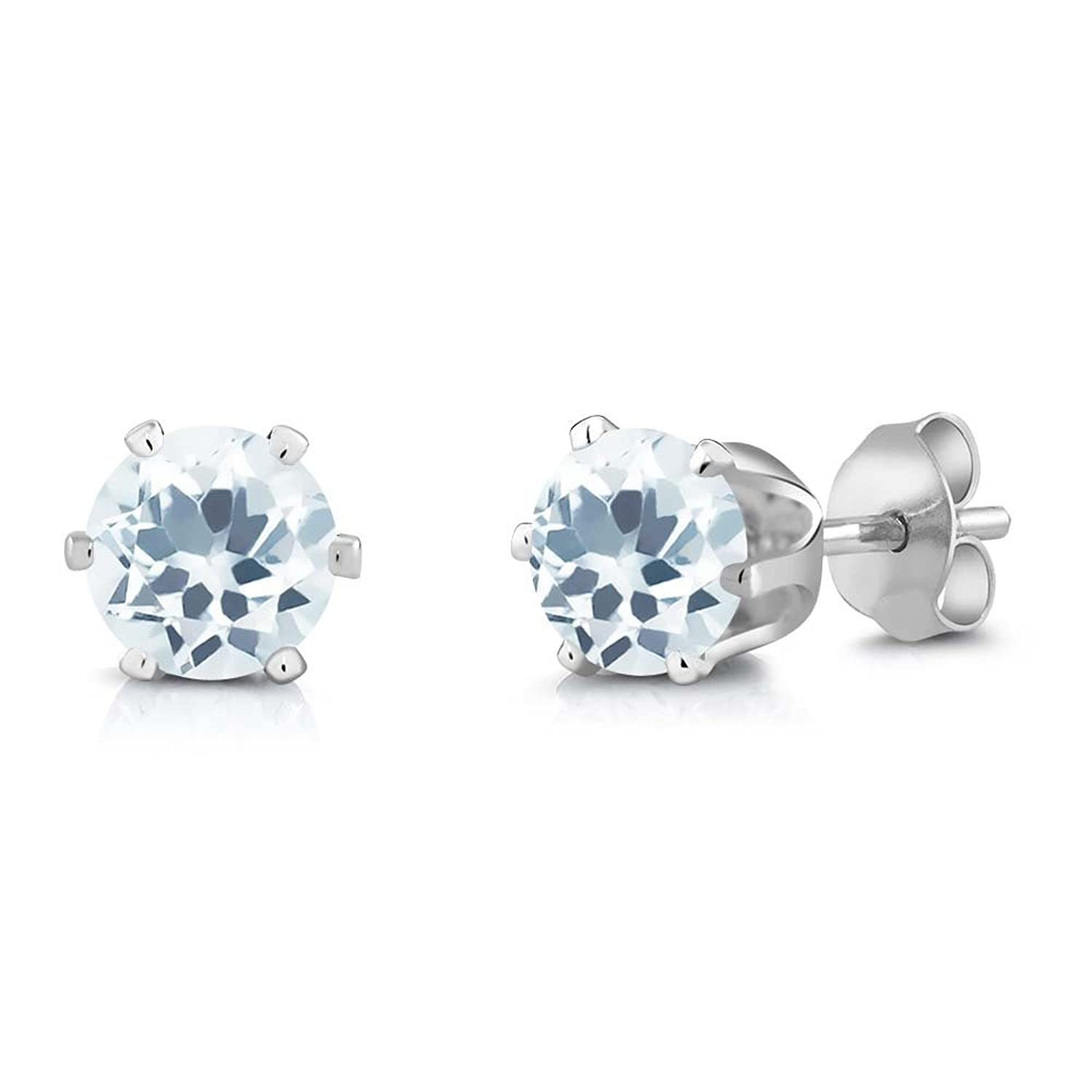 1.50 Ct Round Sky Blue Aquamarine Silver Plated 6-prong Stud Earrings 6mm