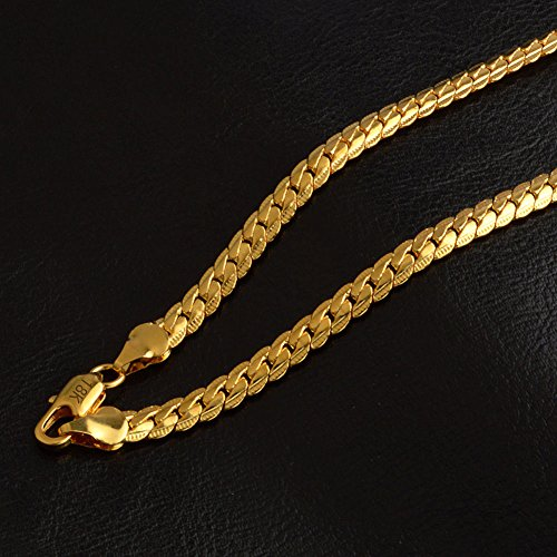 Fashion 18K Gold Plated Stainless Steel Flat Necklace Chain Women Men Jewelry