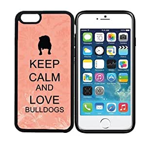 iPhone 6 (4.7 inch display) RCGrafix Keep Calm And Love Bulldogs Coral Floral - Designer BLACK Case - Fits Apple iPhone 6- Protected Cell Phone Cover PLUS Bonus Iphone Apps Business Productivity Review Guide
