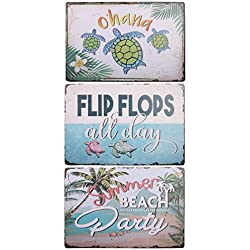 HANTAJANSS Metal Signs, Summer Beach Party, Ohana, Flip Flops All Day Tin Sign for Beach Store, Bar, Home Decoration 3 Pack
