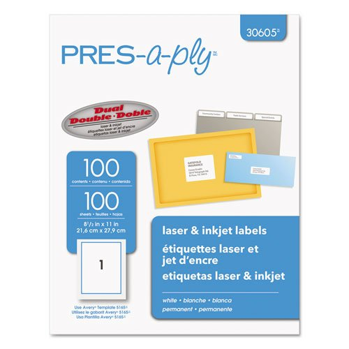 (Pres-A-Ply Laser Address Labels, 8-1/2 x 11, White, 100/Box)