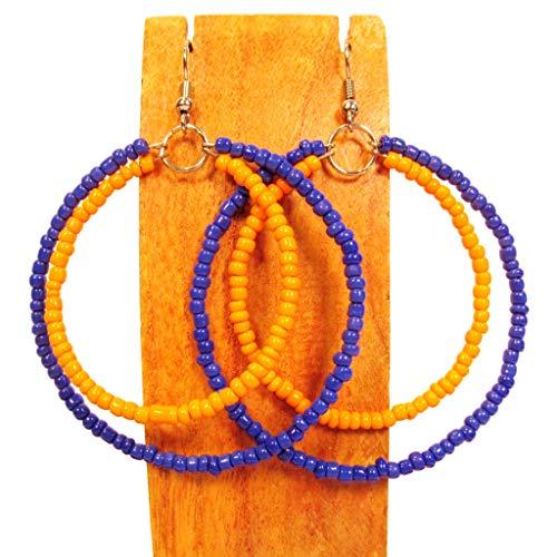 Large Orange and Blue Team Color Handmade Seed Bead Double Hoop Earrings ()