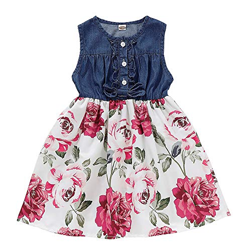 YOUNGER TREE Toddler Baby Little Girls Princess Dresses Sunnmer Sleeveless Casual Denim Dress Floral Print Tutu Skirts (#4 Dark Blue Floral Tutu Skirts, 4/5 T) (Denim Girls Sleeveless Blue Dress)
