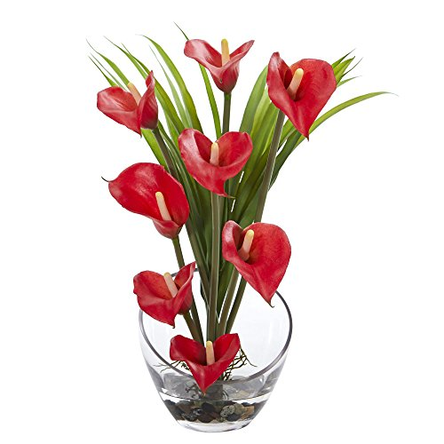 - Nearly Natural Calla Lily and Grass in Vase, 15.5