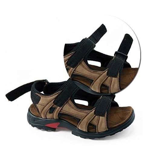 sandali slittata da accogliente Open pelle tempo libero SSYY toe uomo A sandali spiaggia Scarpe sandali Imbottiti sportivo vera xnBwq81Zgw