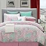 EverRouge 8-Piece Cotton Bedding Set, Full, Flower Power, Pink/Aqua