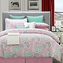 EverRouge 6-Piece Cotton Bedding Set, Twin, Flower Power, Pink/Aqua