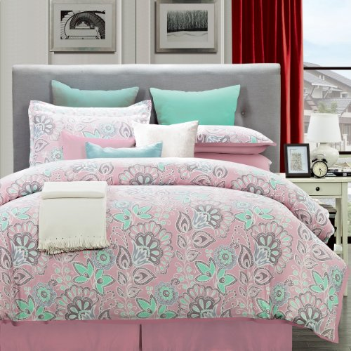 Flower Power Twin Comforter - EverRouge 6-Piece Cotton Bedding Set, Twin, Flower Power