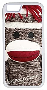 iphone 6 4.7 Case, CellPowerCasesTM Sock Monkey [Flex Series] -iphone 6 4.7 White Case [iphone 6 4.7 V1 White]