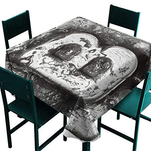 Warm Family Letter B Fabric Dust-Proof Table Cover Steel Aged B with Toned Cracks and Distressed Effects Ceramic Inspired Print Great for Buffet Table W50 x L50 Silver ()