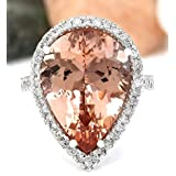 Sumanee Women Fashion 925 Silver Pear Cut Morganite Gem Ring Wedding Jewelry (10)