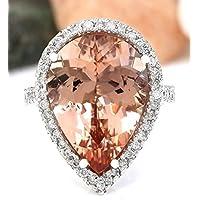Sumanee Women Fashion 925 Silver Pear Cut Morganite Gem Ring Wedding Jewelry (7)